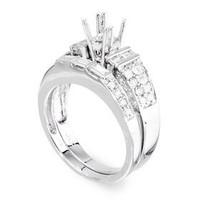 1.32 Ctw Pave Two Piece Diamond Engagement Ring Set