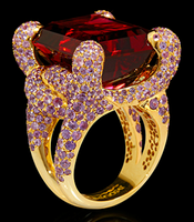 "Mousson Atelier New Age ""Iguana"" Gold Tourmaline & Sapphire Ring R0050-0/7"