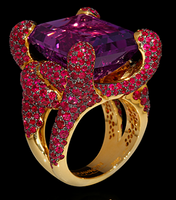 "Mousson Atelier New Age ""Iguana"" Gold Amethyst & Ruby Ring R0050-0/6"