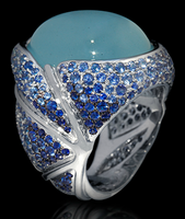 "Mousson Atelier New Age ""Caterpillar"" Gold Aquamarine & Sapphire Ring R0057-0/6"