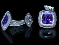 Mousson Atelier Mens Tanzanite & Diamond Cufflinks C0046-0/1