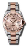 Rolex Watches Datejust 36mm Steel & Pink Gold Domed Bezel Oyster 116201CHDO