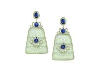 Jade, Tanzanite & 1.77 ct Diamond Earring