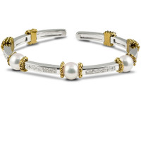 Imperial Gold Crown Akoya Pearls & Diamonds Bracelet CSB035/TT