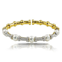 Imperial Gold Crown Akova Pearl & Diamond Bracelet CSB016