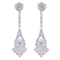 Drop  Diamond Earrings in 18K White Gold TPUGI-291