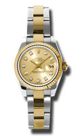 Rolex Datejust Lady Steel & YG Fluted Bezel Oyster 179173CJDO