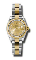 Rolex Datejust Lady Steel & YG Fluted Bezel Oyster 179173CHSO