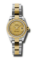 Rolex Datejust Lady Steel & YG Fluted Bezel Oyster 179173CHRO