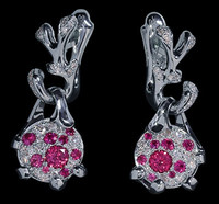 "Mousson Atelier Cosmos Collection ""UFO"" Pink Sapphire & Diamond Earrings E0038-0/3"