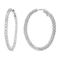 4.60ct 14k W/g Diamond Oval Hoop Earring Inside Out