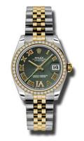 Rolex Datejust 31mm Steel & YG 46 Dia Bezel Jubilee 178383OGDRJ