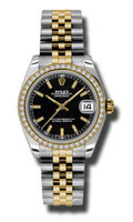 Rolex Datejust 31mm Steel & YG 46 Dia Bezel Jubilee 178383BKIJ