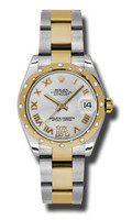 Rolex Datejust 31mm Steel & Gold 24 Dia Bezel-Oyster 178343SDRO