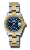 Rolex Datejust 31mm Steel & YG 24 Dia Bezel Oyster 178343BLIO