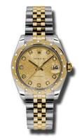 Rolex Datejust 31mm Steel & YG 24 Dia Bezel Jubilee 178343CHJDJ