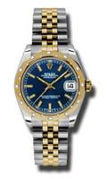 Rolex Datejust 31mm Steel & YG 24 Dia Bezel Jubilee 178343BLIJ