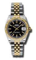 Rolex Datejust 31mm Steel & YG 24 Dia Bezel Jubilee 178343BKIJ