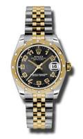 Rolex Datejust 31mm Steel & YG 24 Dia Bezel Jubilee 178343BKCAJ