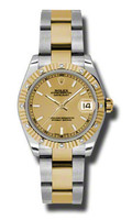 Rolex Datejust 31mm Steel & YG 12 Dia Bezel Oyster 178313CHIO