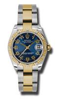 Rolex Datejust 31mm Steel & YG 12 Dia Bezel Oyster 178313BLCAO