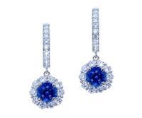 1.43 Cttw Round Sapphire & Diamond Dangle Earrings 18k Gold