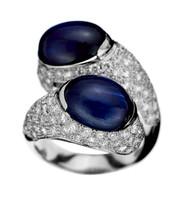 Gayubo 18K WG Sapphire Diamond Crossover Ring 9537