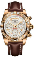 Breitling Chronomat 41 RG Dia Bezel LeatherDeployant HB0140AA/G759