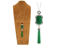 Emerald & 3.41 ct Diamond Tassel Necklace