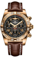 Breitling Chronomat 41 RG Dia Bezel Croco Strap Deployant HB0140AA/BC08