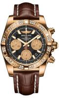 Breitling Chronomat 41 RG Dia Bezel Croco Strap Deployant HB0140AA/BA53