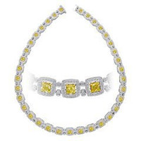 20 Ct Fancy Yellow & White Diamond Necklace (rd 6.49ct, Fly 13.52ct)