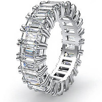 3 Carat F-G/VS2 Emerald Cut Diamond Eternity Band In Platinum