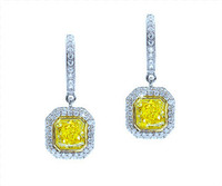1.84 cttw Intense Yellow Radiant Cut Diamond Earrings In 18k White Gold