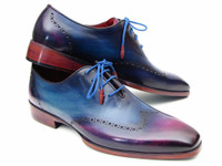 Paul Parkman Blue & Purple Wingtip Oxfords (ID084VX55)