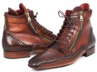 Paul Parkman Genuine Crocodile & Calfskin Handmade Zipper Boots (ID88CPK92)
