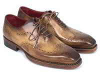 Paul Parkman Goodyear Welted Men's Wingtip Oxfords Antique Olive (ID87OLV54)