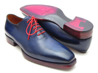 Paul Parkman Goodyear Welted Wholecut Oxfords Navy Blue Hand-Painted (ID044CR)