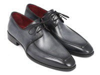 Paul Parkman Gray & Black Apron Derby Shoes For Men (ID13SX51)