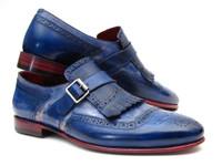 Paul Parkman Kiltie Monkstrap Shoes Dual Tone Blue Leather (ID12BL78)
