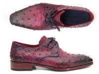 Paul Parkman Lilac Genuine Ostrich Derby Shoes (ID66CC44)
