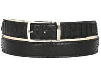 PAUL PARKMAN Men's Black Genuine Python (snakeskin) Belt (IDB03-BLK)