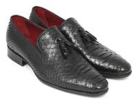 Paul Parkman Men's Black Genuine Python Tassel Loafers (ID26GH41)