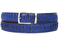 PAUL PARKMAN Men's Blue Genuine Python (snakeskin) Belt (IDB03-BLU)