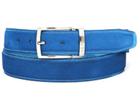 PAUL PARKMAN Men's Blue Suede Belt (IDB06-BLU)