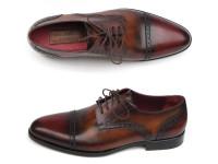 Paul Parkman Men's Bordeaux/Tobacco Derby Shoes Leather Upper & Leather Sole (ID046-BRD-BRW)