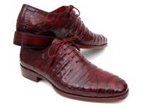 Paul Parkman Men's Bordeaux Genuine Crocodile Oxfords (ID23XF55)