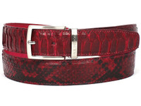 PAUL PARKMAN Men's Burgundy Genuine Python (snakeskin) Belt (IDB03-BUR)