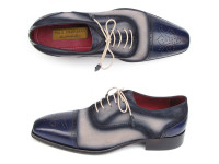 Paul Parkman Men's Captoe Oxfords Navy/Beige Hand-Painted Suede Upper & Leather Sole (ID024-BLS)