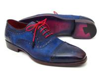Paul Parkman Men's Captoe Oxfords Blue Suede (ID024-BLUSD)